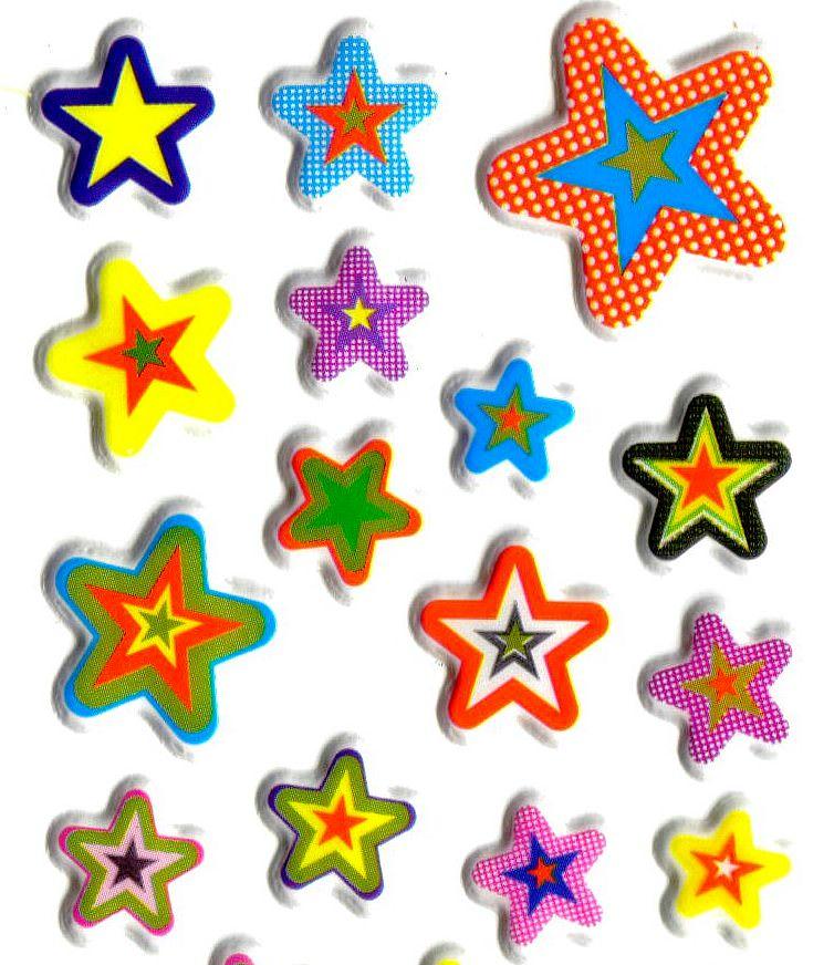 Gommettes Etoiles Multicolores 3D