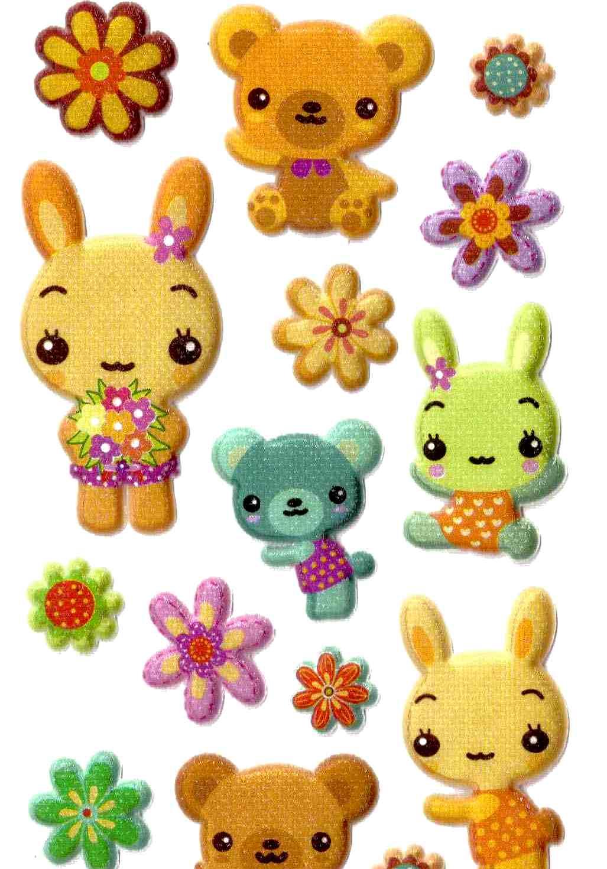 Stickers Bébés Doudous 3D