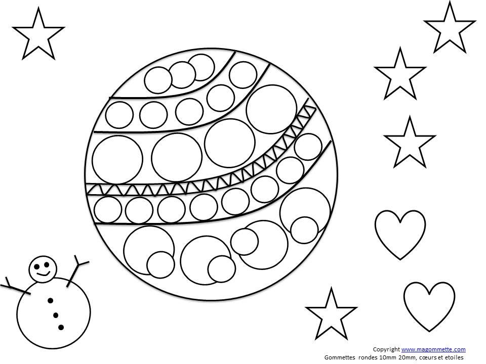 Dessin Boule De Noel.Dessin à Imprimer Pour Collage De Gommettes Boule De Noël