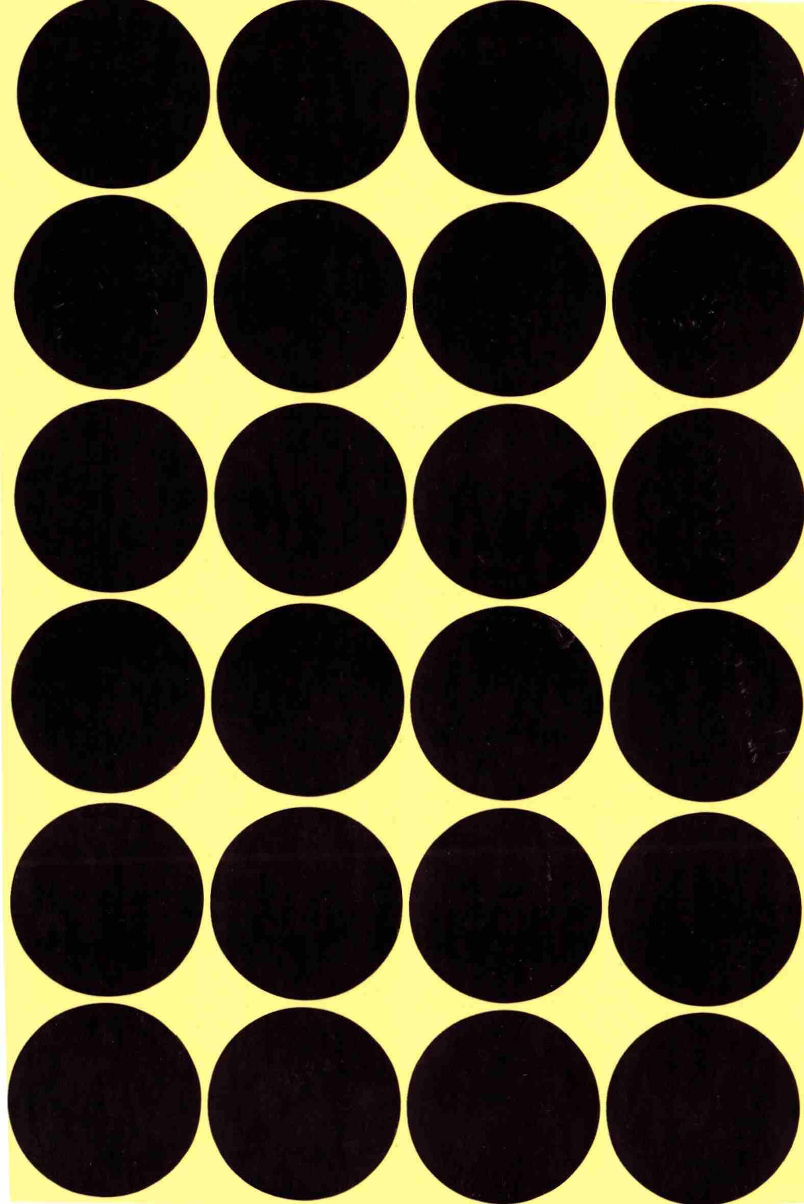 24 gommettes rondes grande taille Noire 30mm