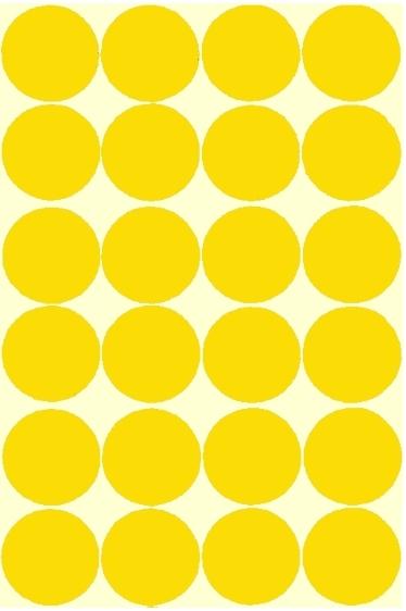 24 grosses gommettes jaune 30mm