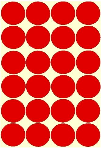 24 Gommettes rondes Rouges 30mm
