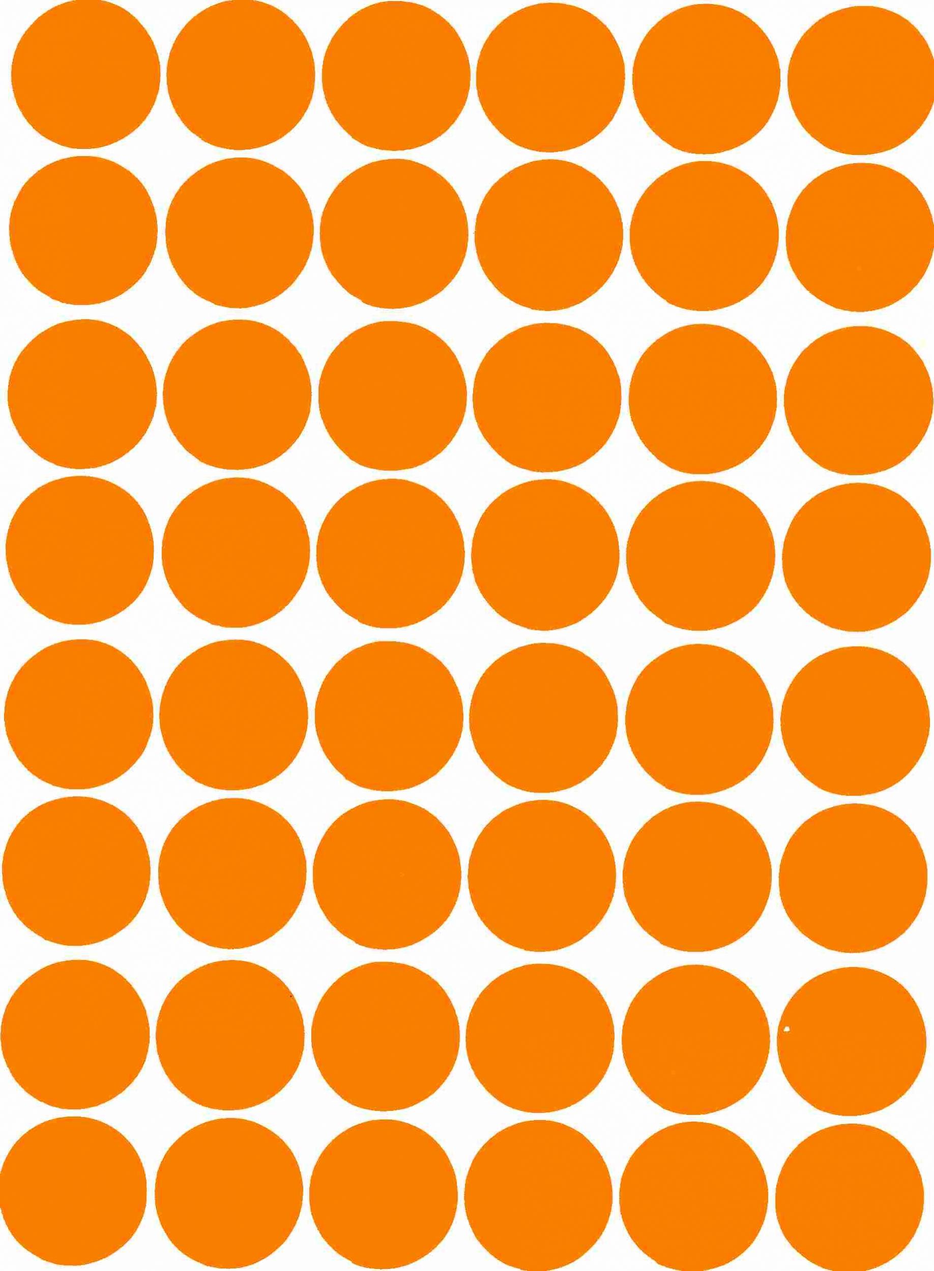 48 gommettes papier Rondes autocollantes Orange 25 mm