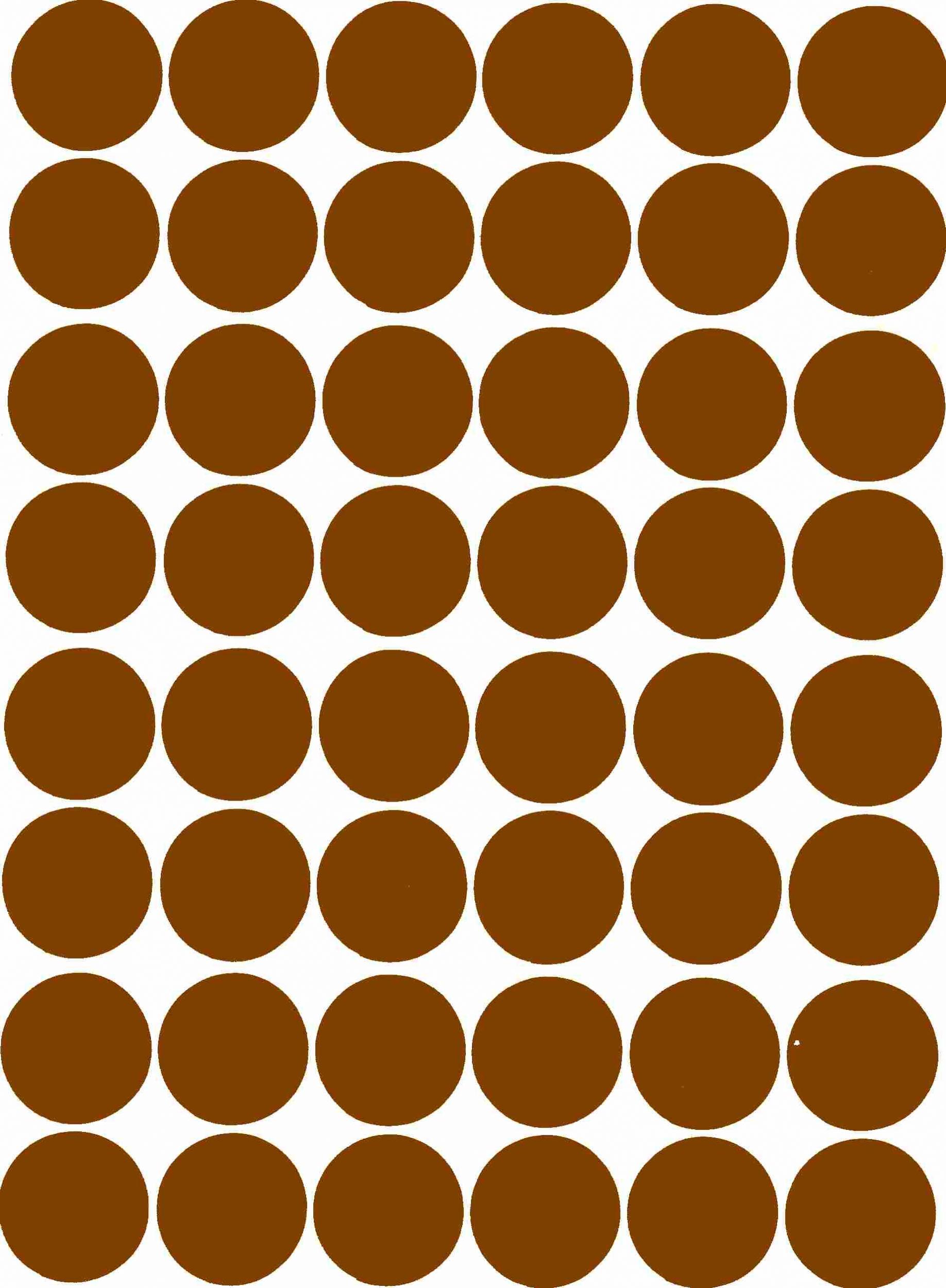 48 Gommettes papier rondes autocollantes Marron 25 mm