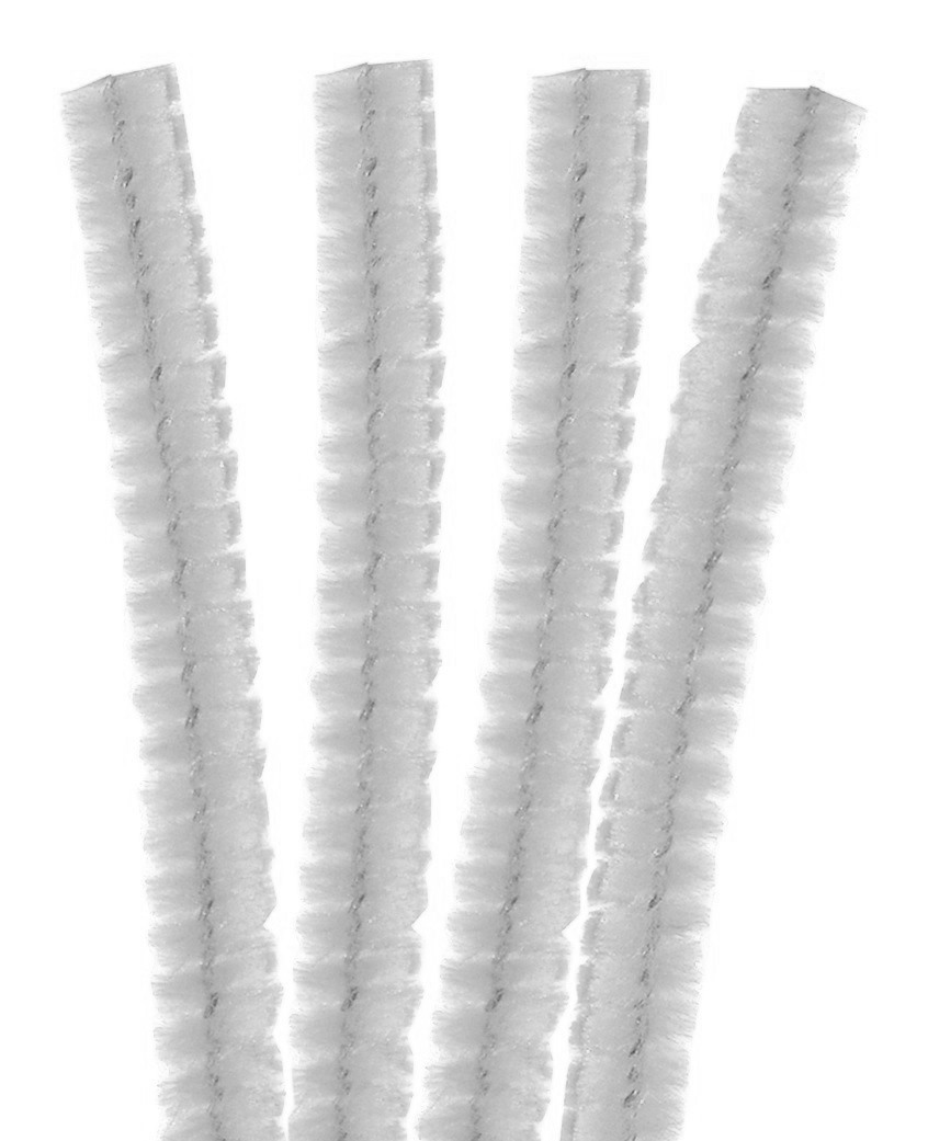 4 Fils chenille Cure Pipe 30cm Blanc