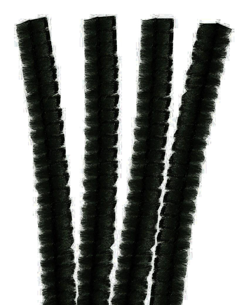 4 Fils chenille Cure Pipe 30cm Noir