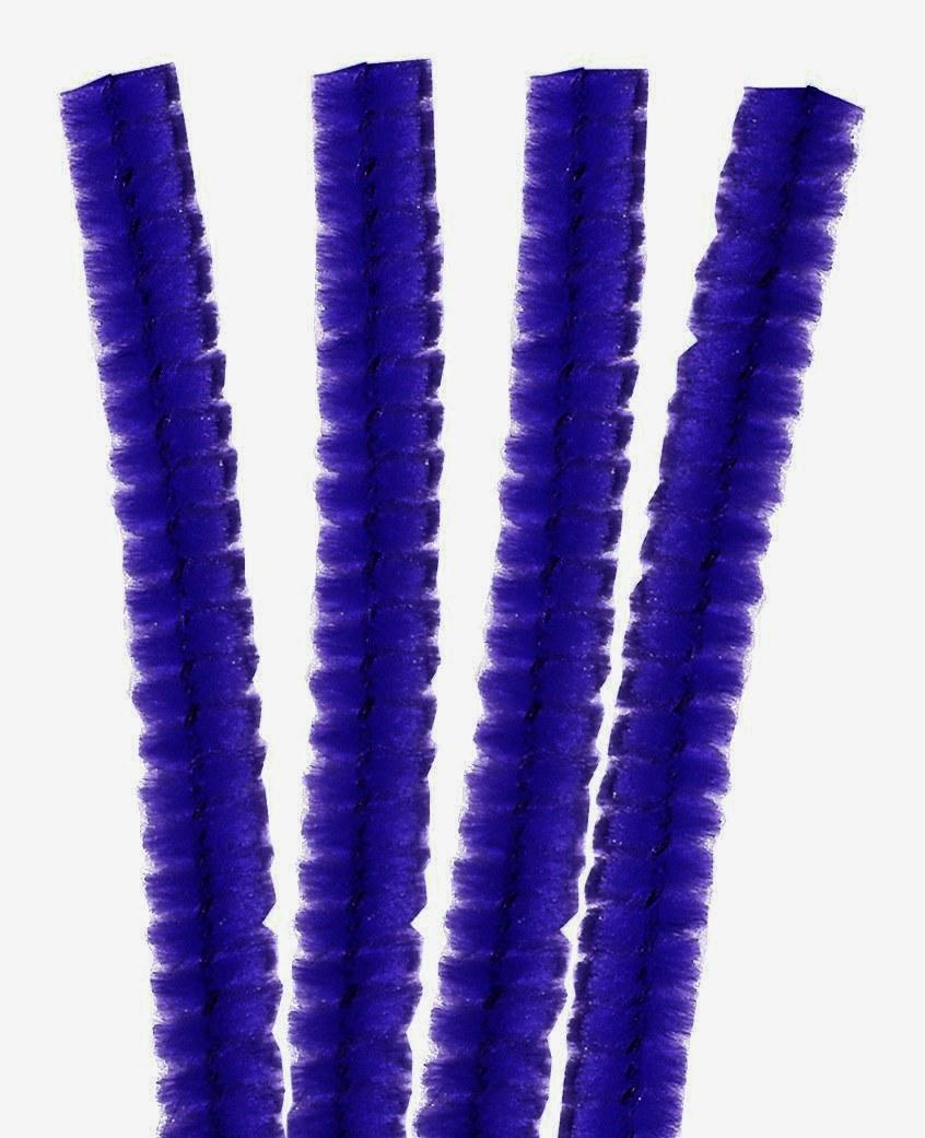 4 Fils chenille Cure Pipe 30cm Bleu Foncé