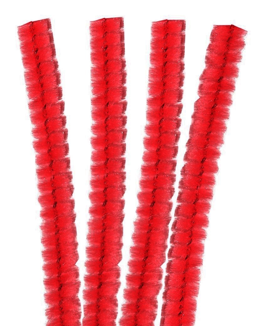 4 Fils Chenille Cure Pipe 30cm Rouge