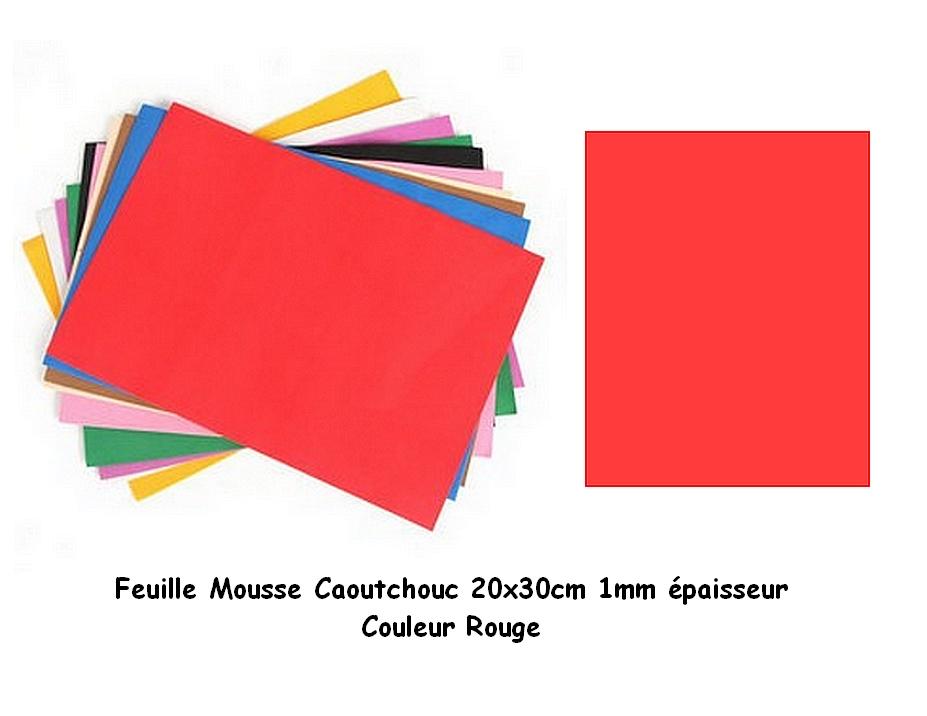 Feuille mousse EVA 1 mm 24 cm X 24 cm Rouge