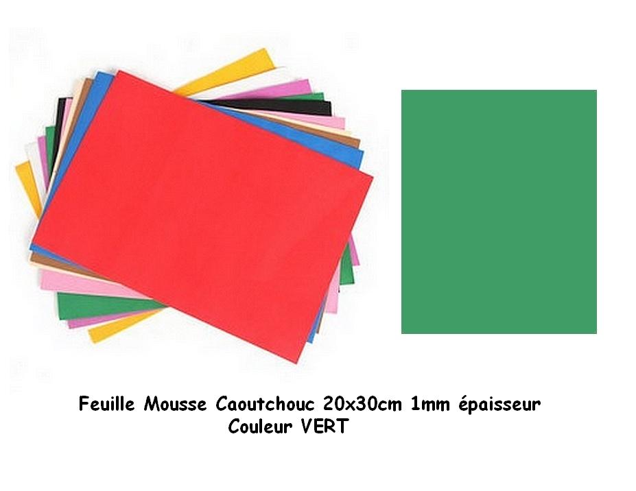 Feuille mousse EVA 1 mm 21 cm X 27 cm Vert foncé