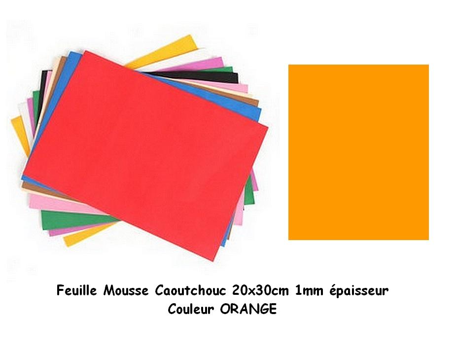 Feuille mousse EVA 1 mm 24 cm X 24 cm Orange