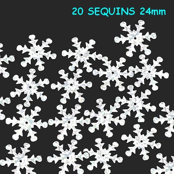 20 sequins flocon de neige 24mm