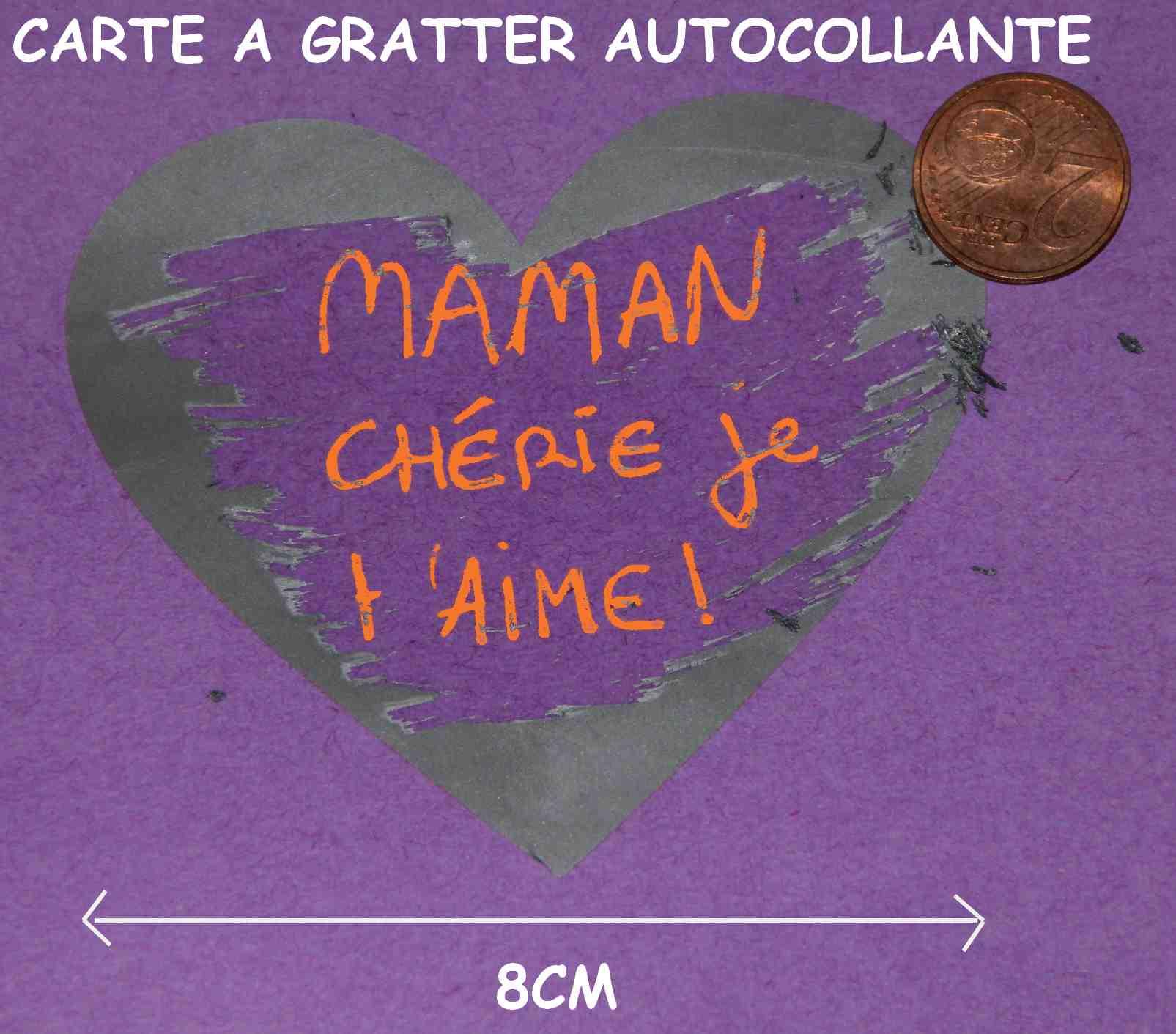 2 Coeurs Texte à Gratter argentés