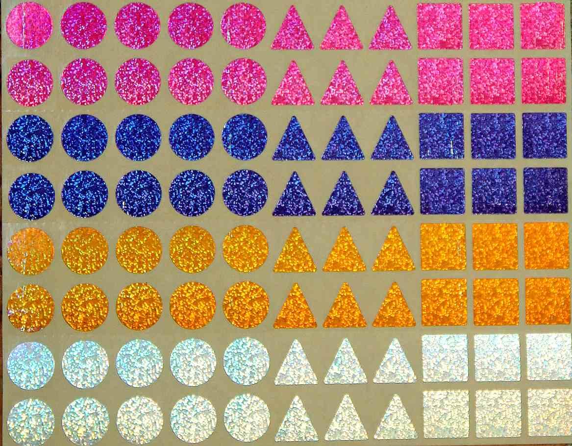 88 gommettes géométriques holographiques 15 mm effet laser