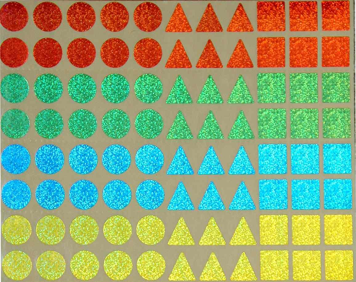 88 gommettes holographiques 15 mm effet laser