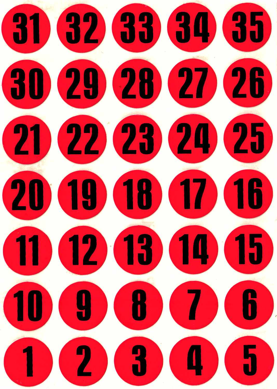 35 Pastilles Chiffres 15mm Calendrier de l\'Avent