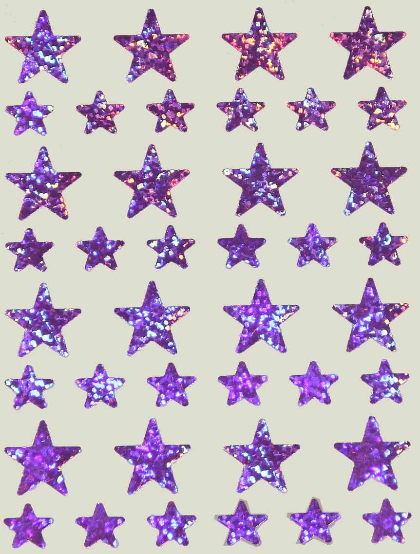 40 Gommettes Etoiles Holographiques mauve 1,2 et 2,2cm