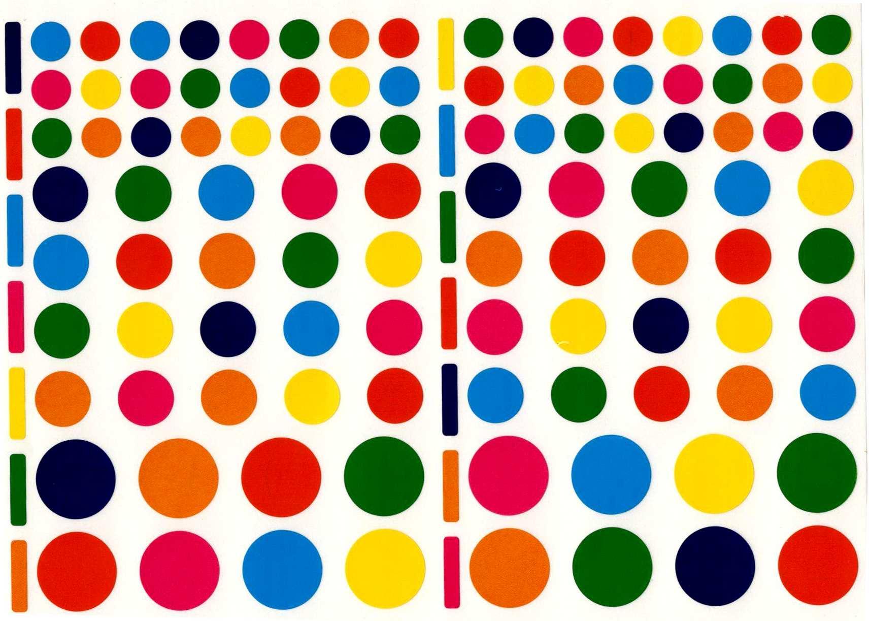 118 Gommettes Rondes Multicolores 3 tailles