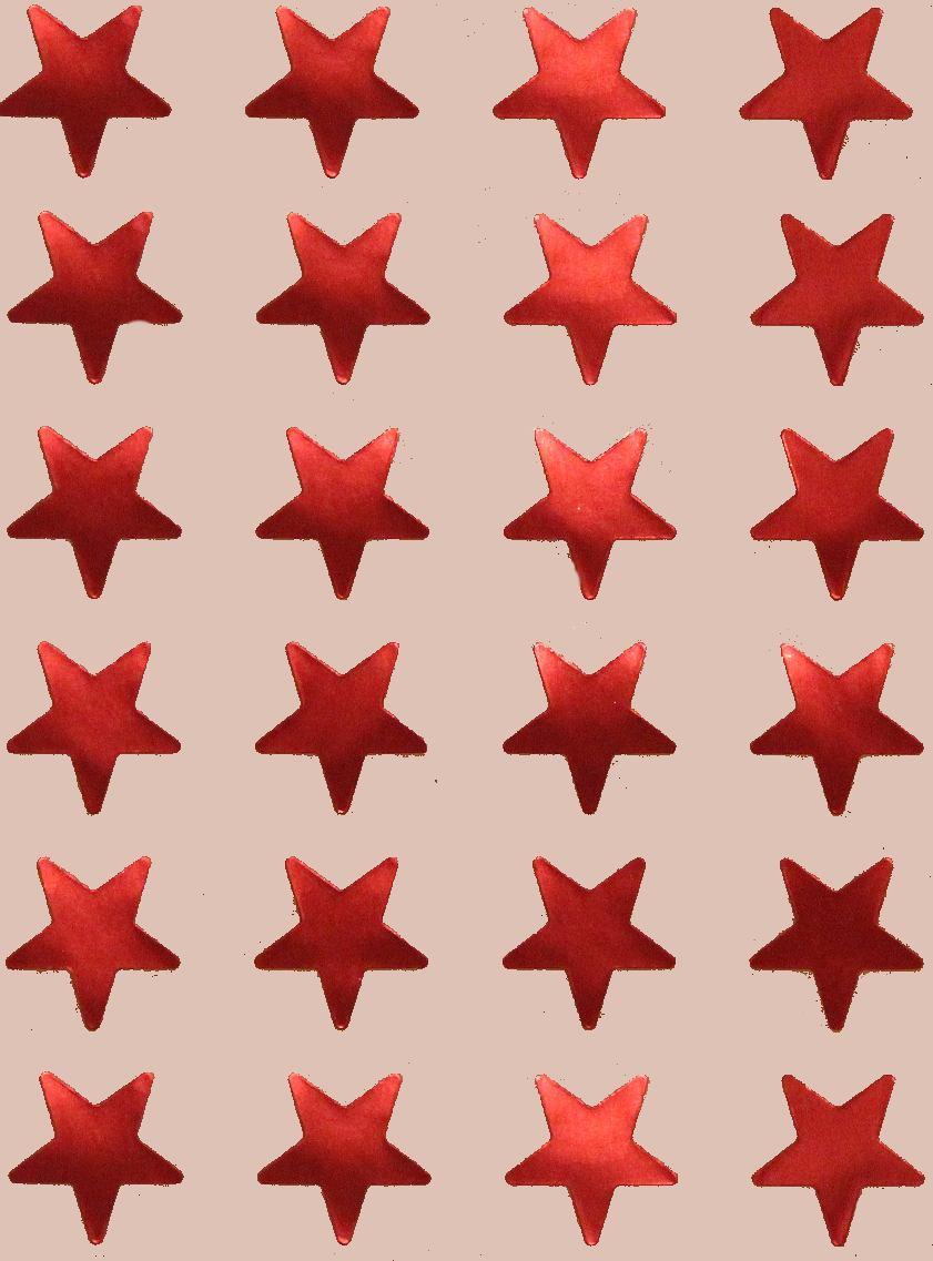 24 Gommettes Etoiles Metal Rouge 2cm