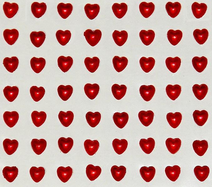100 cœurs strass rouges métallisés 5 mm