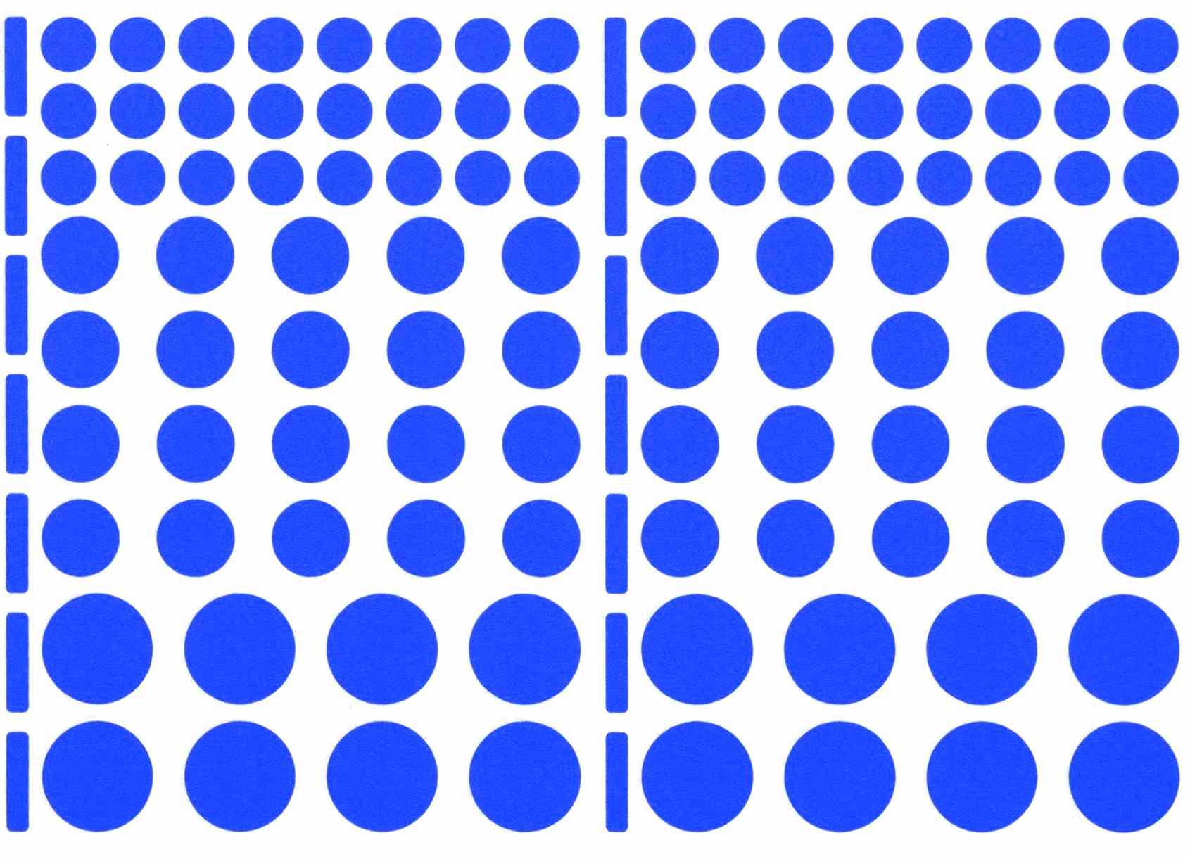 104 gommettes, 3 tailles, Bleues