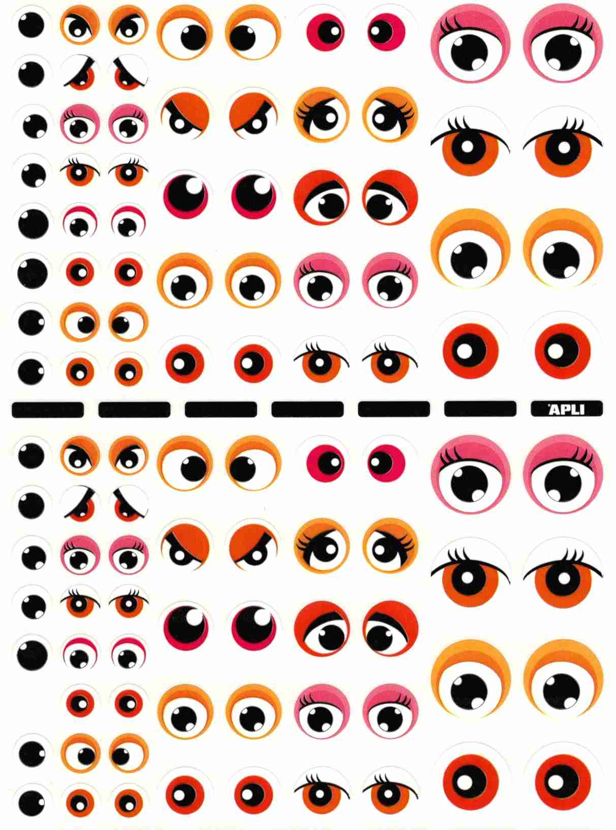 104 gommettes yeux rouges et roses