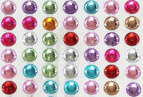 42 strass autocollant multicolore