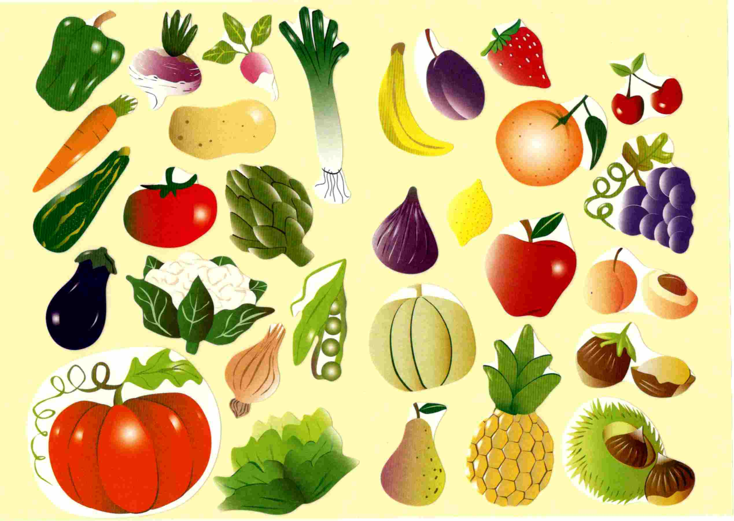 Gommettes fruits 16x21cm gommettes fleurs fruits et l gumes - Fruits et legumes aout ...