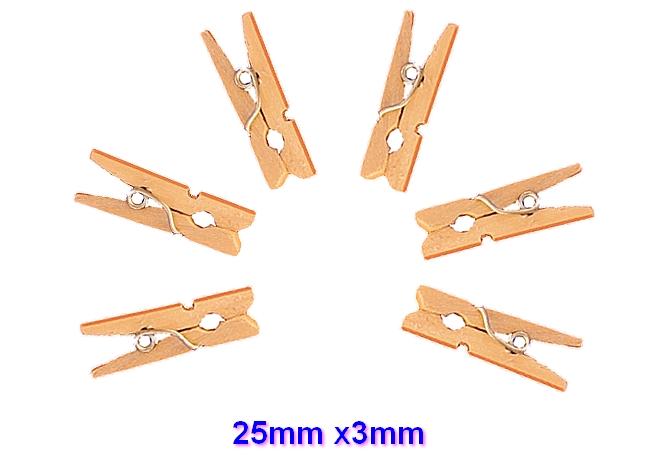 6 mini pinces à linge 2,5cm x 3mm