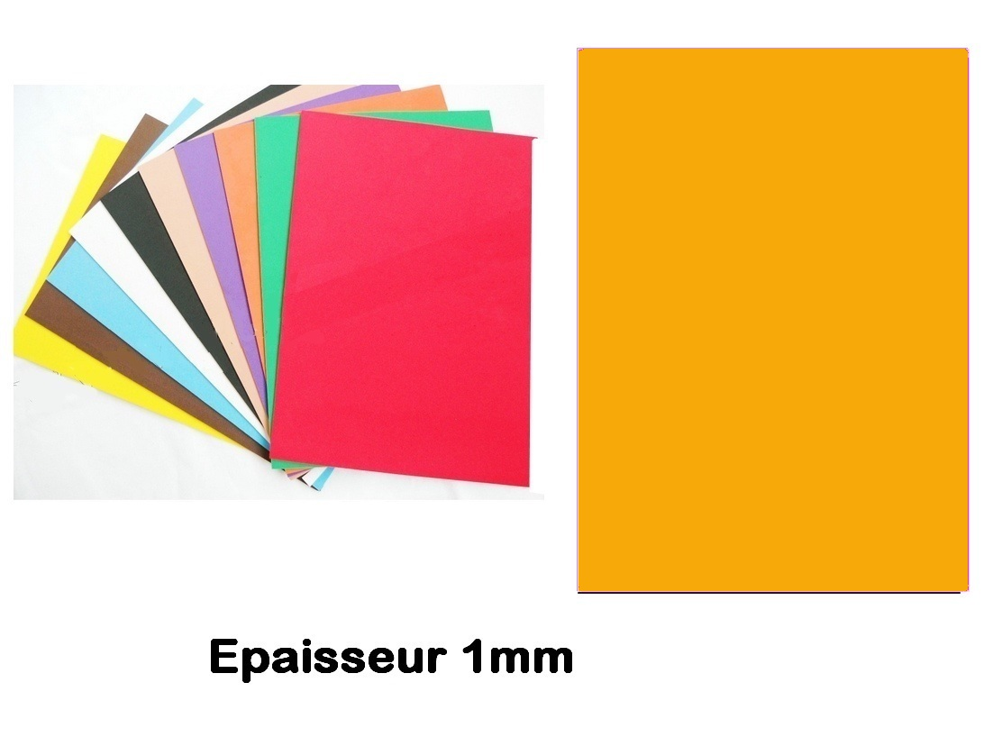 Feuille Mousse EVA 1 mm 24 cm X 24 cm Jaune orangé