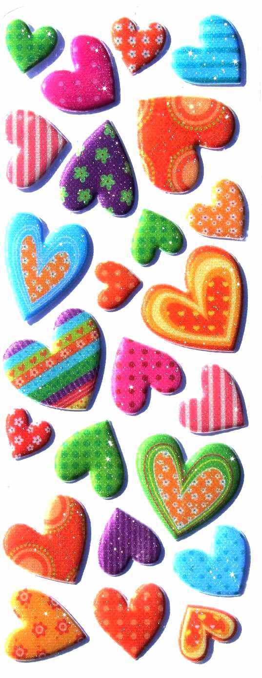 Stickers Coeurs Saint Valentin Paillettes 3D