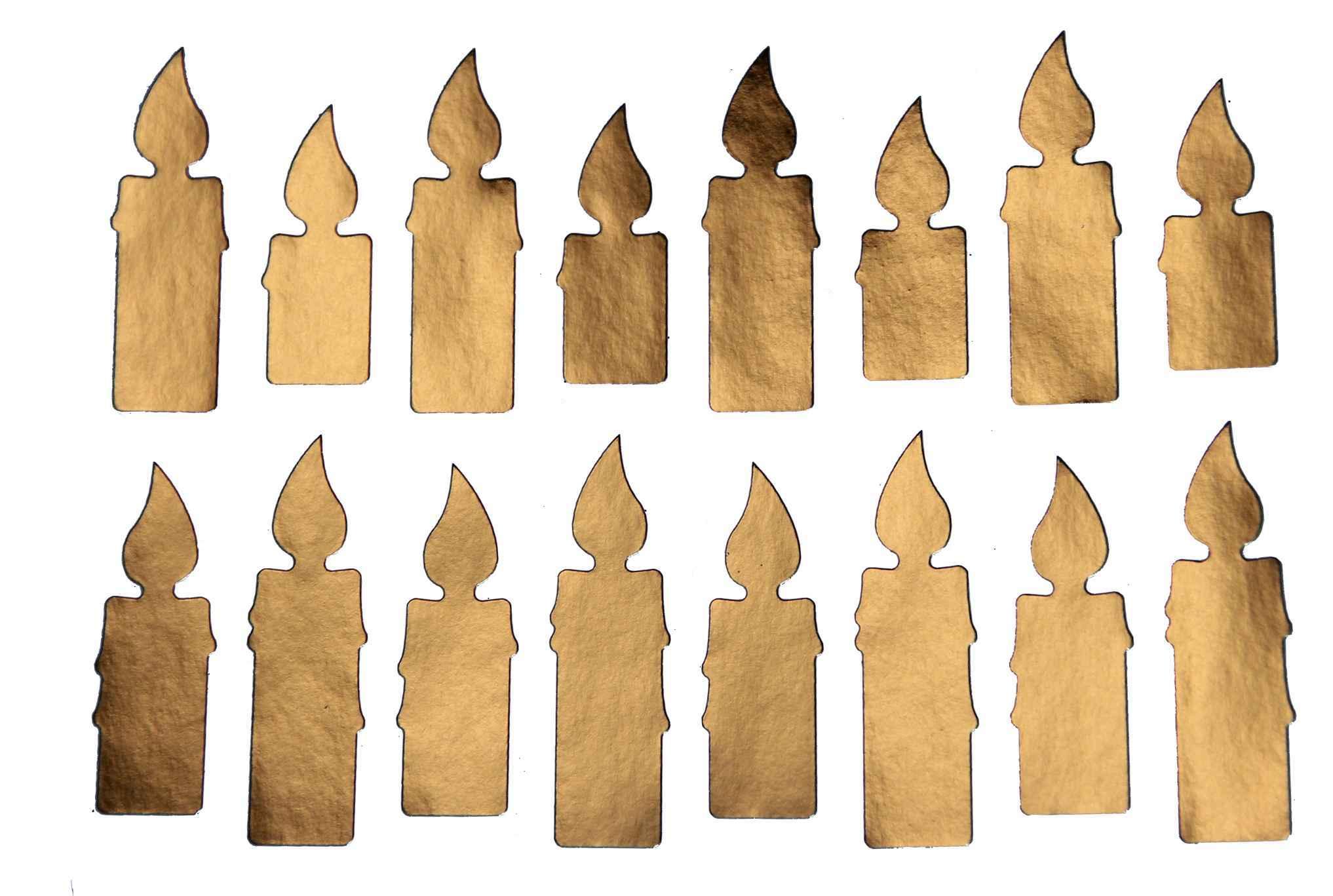 16 Stickers Bougies Dorées