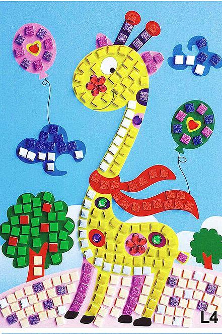 puzzle mosaique paillette et bijoux 21x24cm girafe loisirs cr atifs. Black Bedroom Furniture Sets. Home Design Ideas
