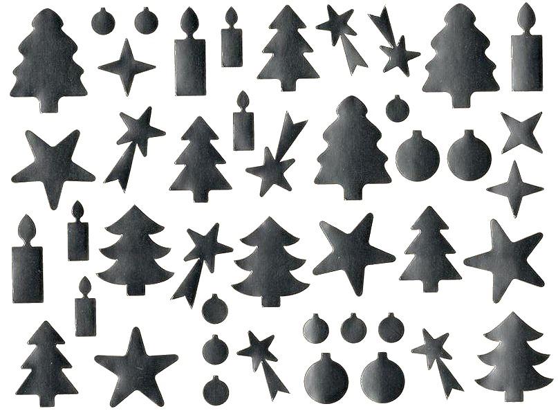 44 Gommettes Argentées Noël