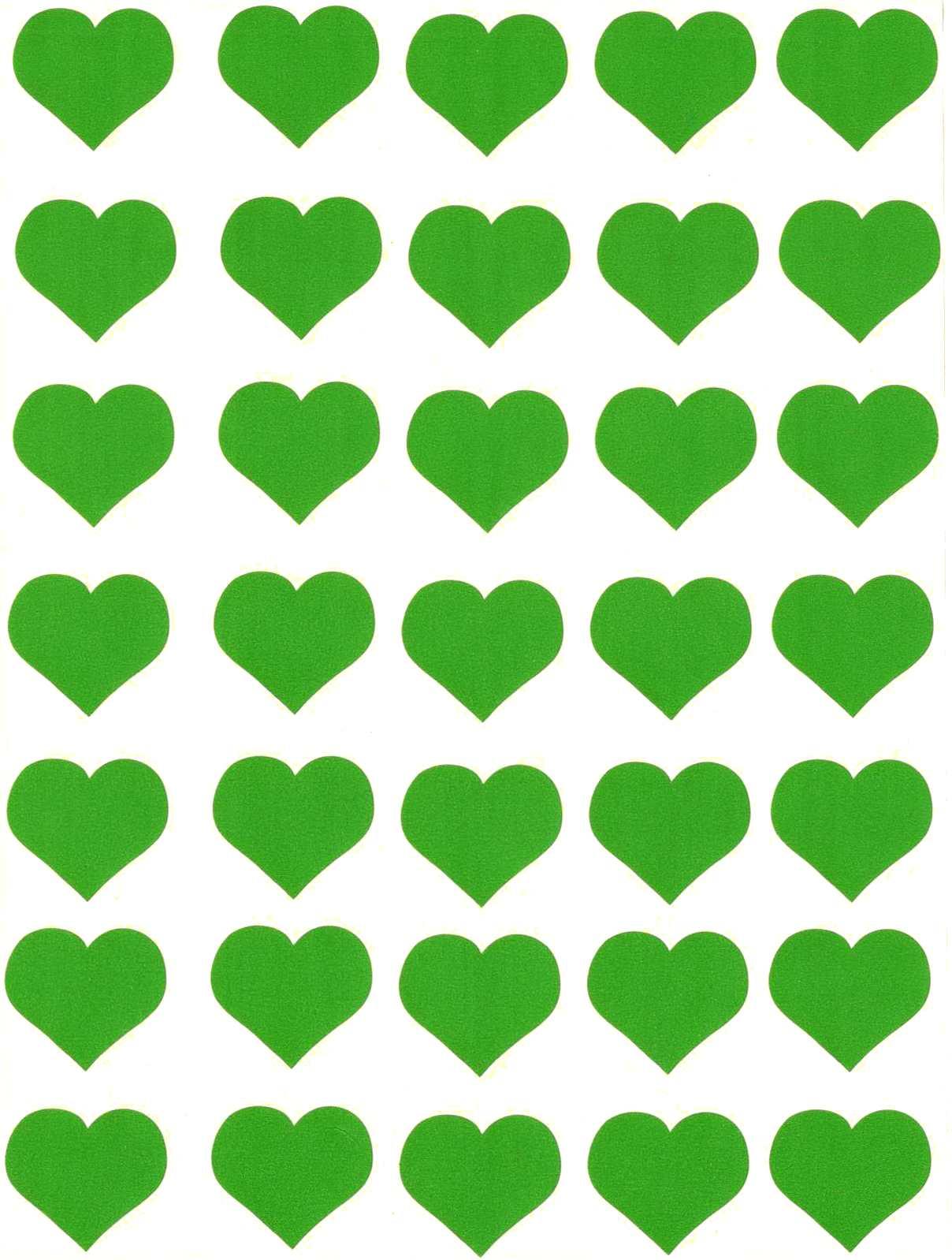 35 Gommettes Coeurs verts 25 mm