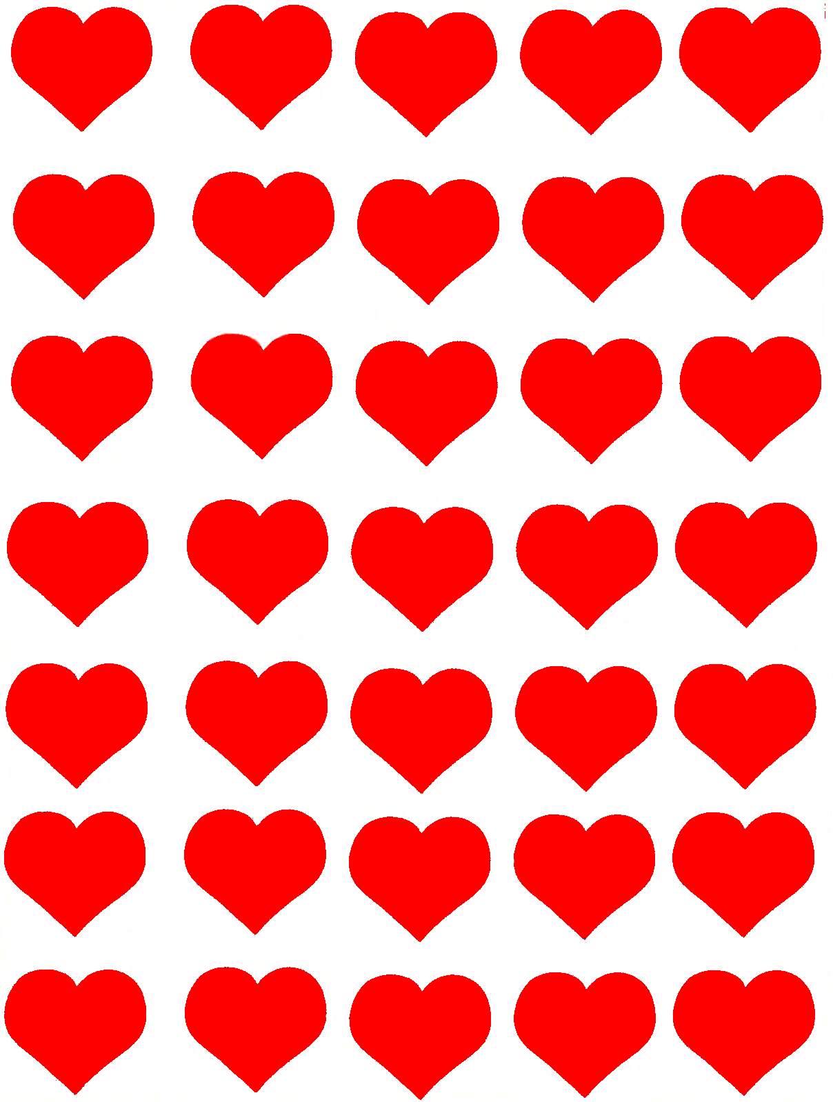 35 gommettes Coeurs rouges 25 mm