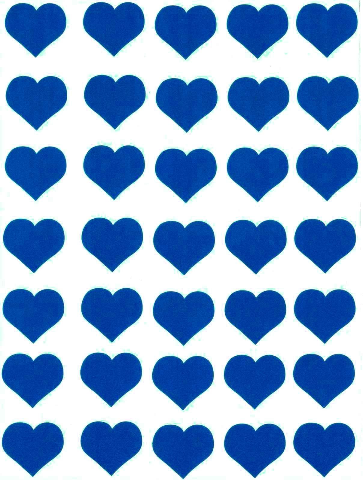 35 Gommettes Coeurs bleus 25 mm