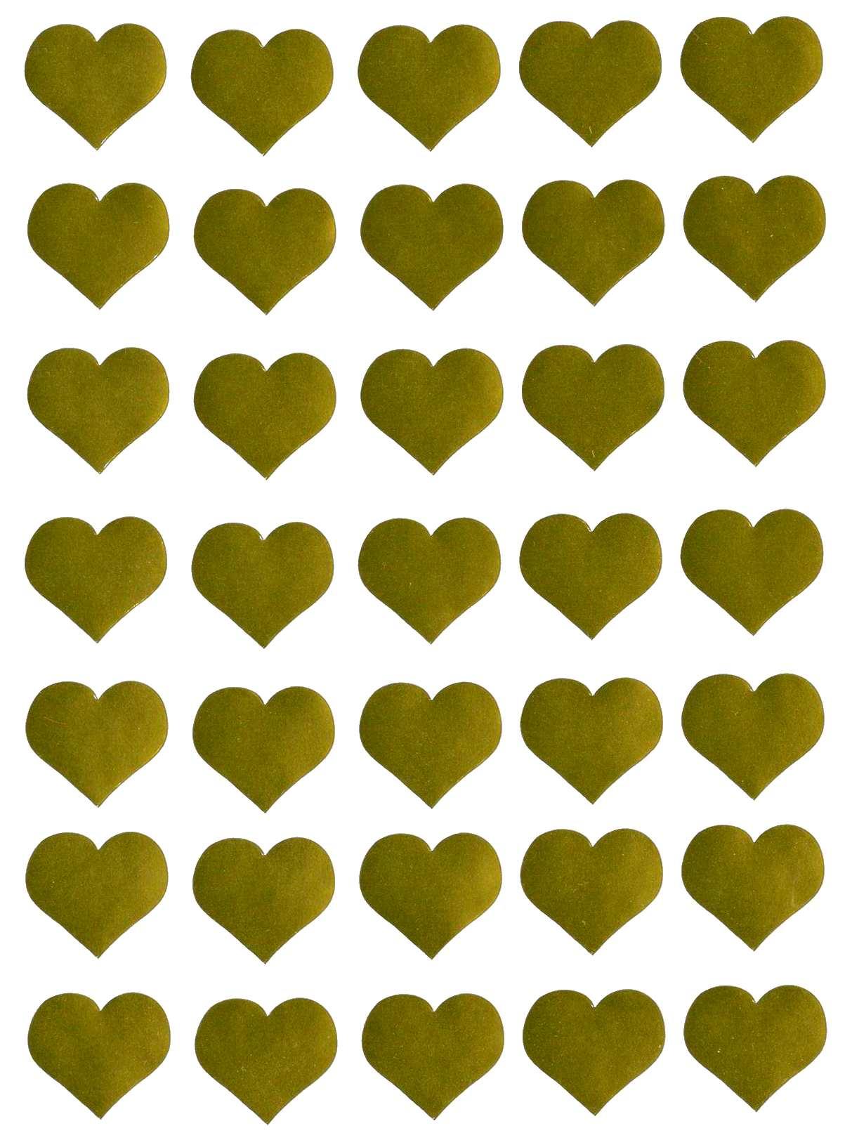 35 gommettes Coeurs dorés 25 mm