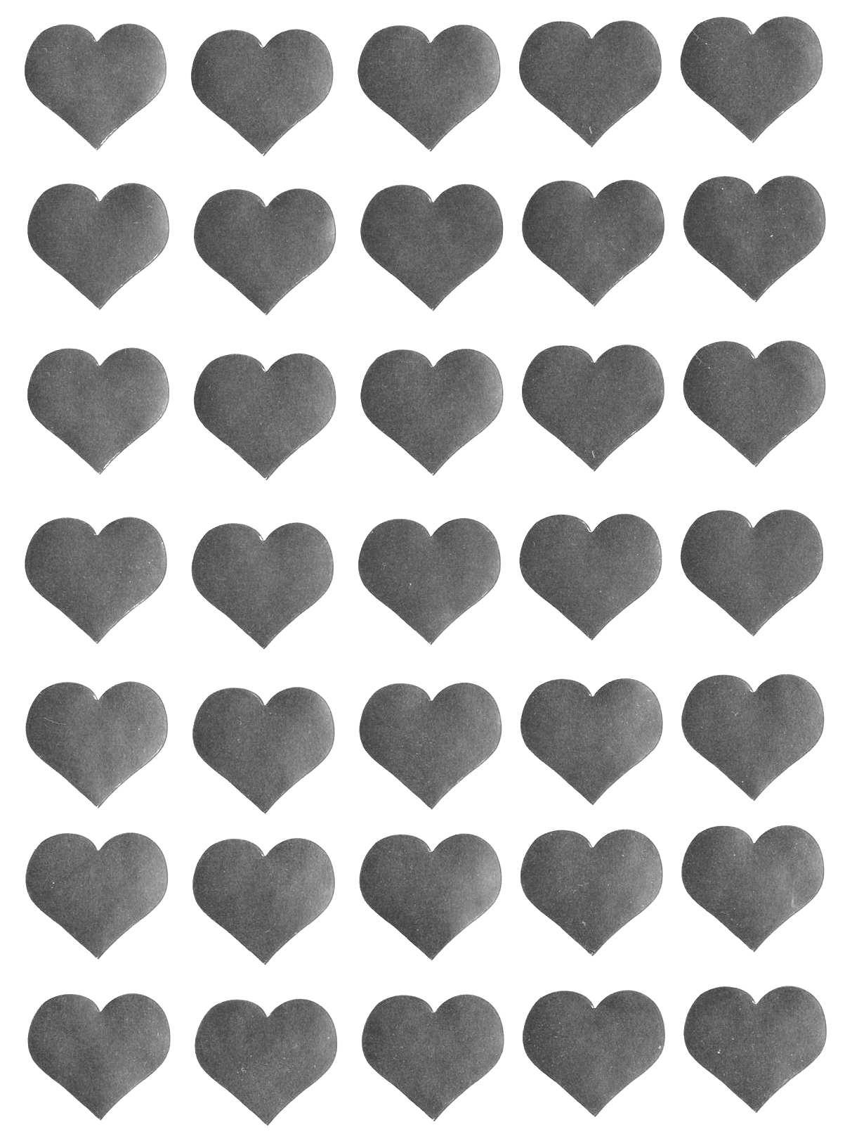35 gommettes Coeurs argentés 25 mm