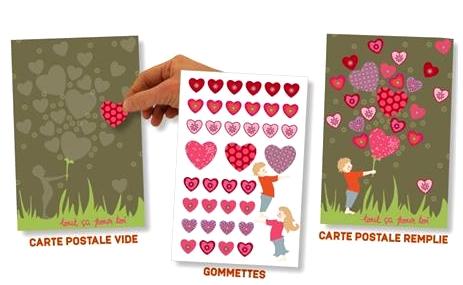Kit Carte Postale Gommettes Coeurs