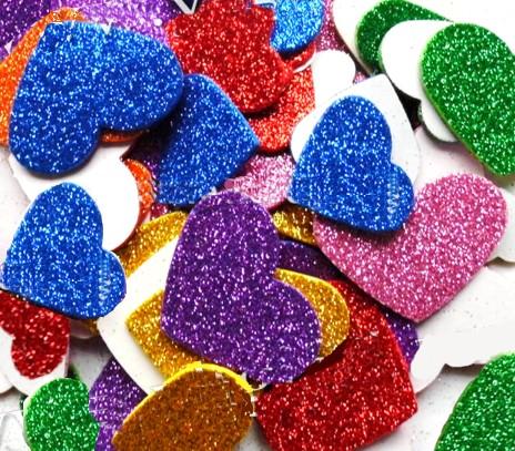 12 Coeurs en Mousse pailletée