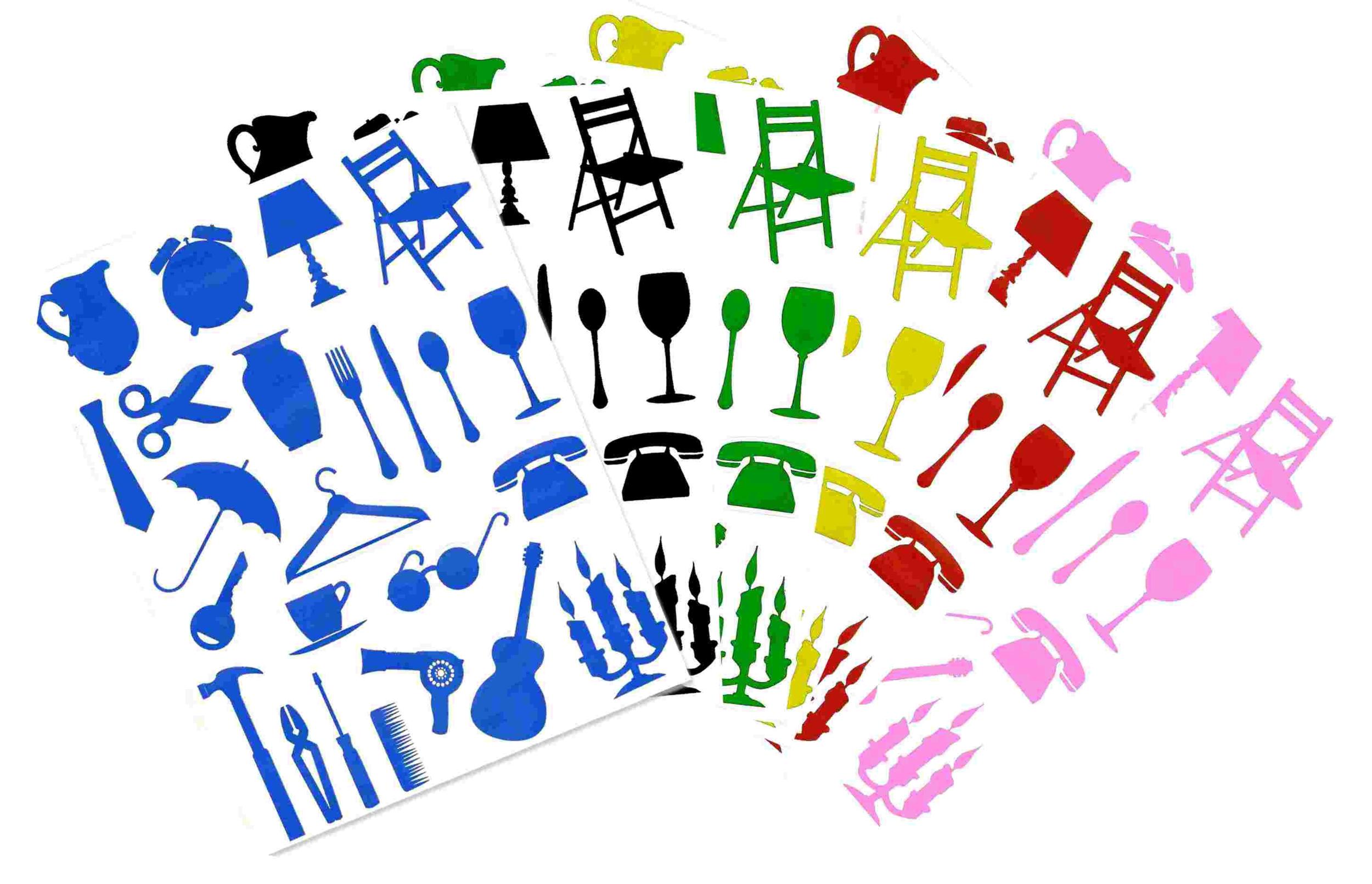 Lot de 144 gommettes objets de la maison gommettes for Objets de la maison