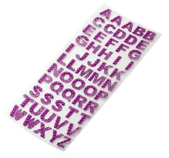 55 stickers alphabet strass rose gommettes chiffres et. Black Bedroom Furniture Sets. Home Design Ideas