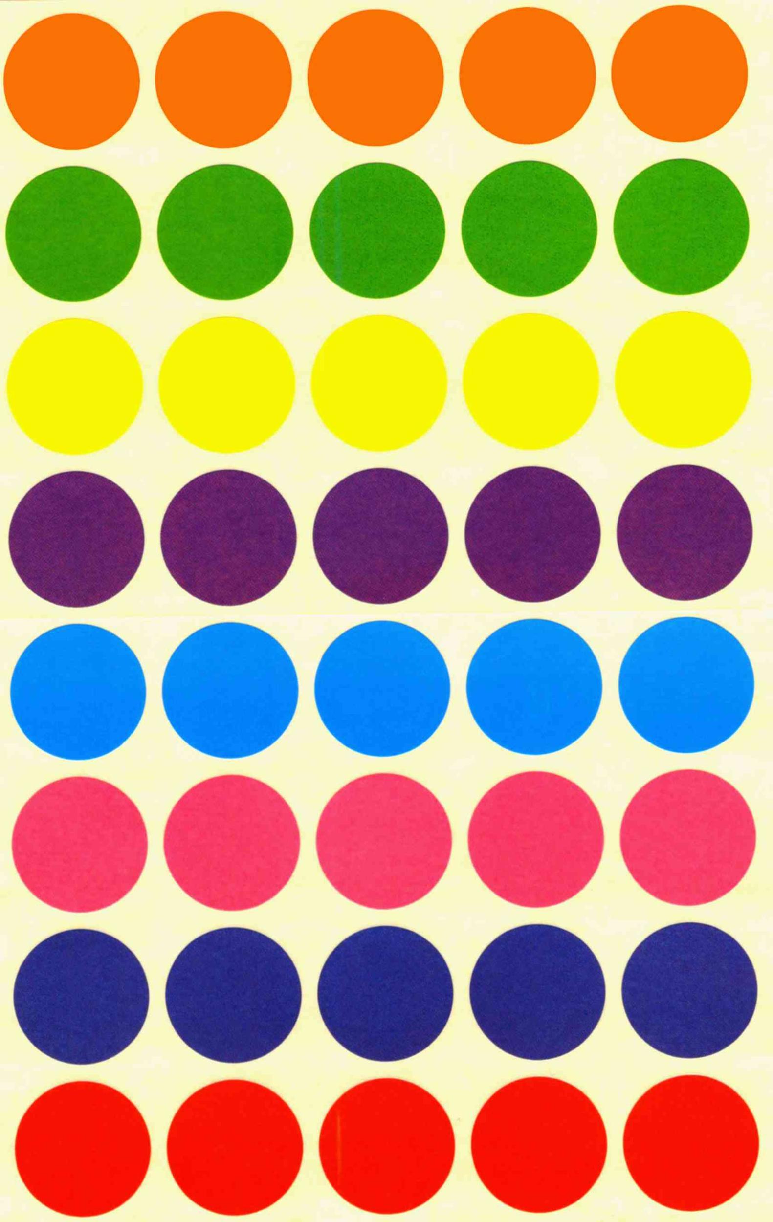 40 Gommettes multicolores rondes mates 25 mm