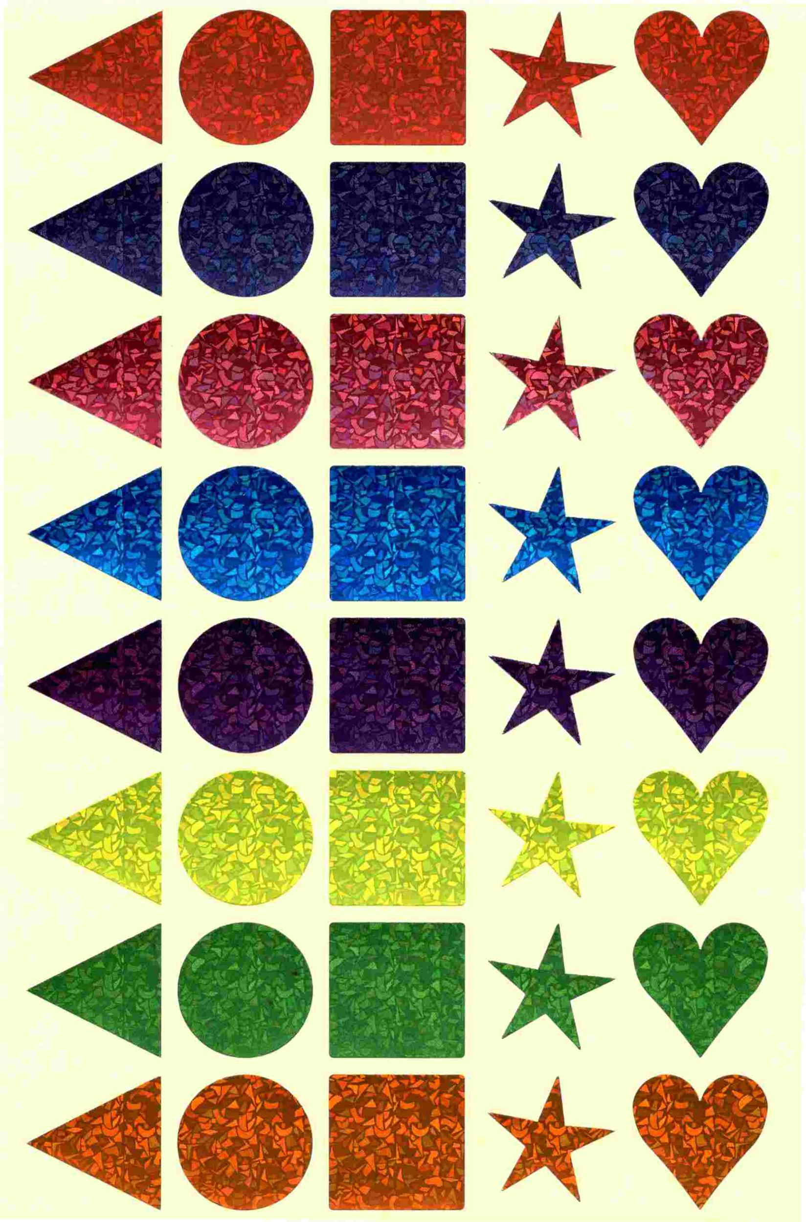 40 Gommettes multicolores géométriques Laser 25mm
