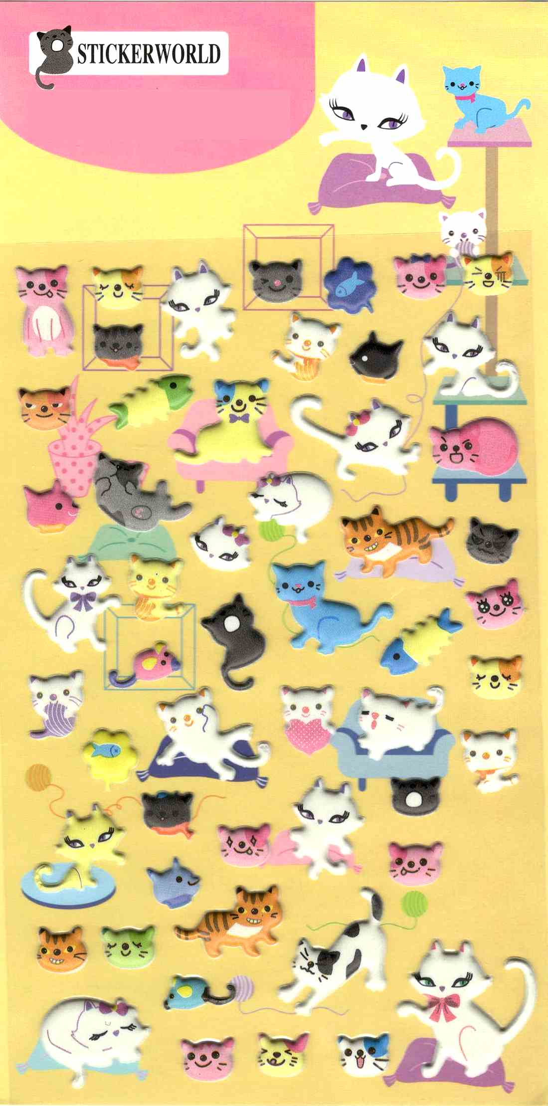 56 stickers kawaii chatons