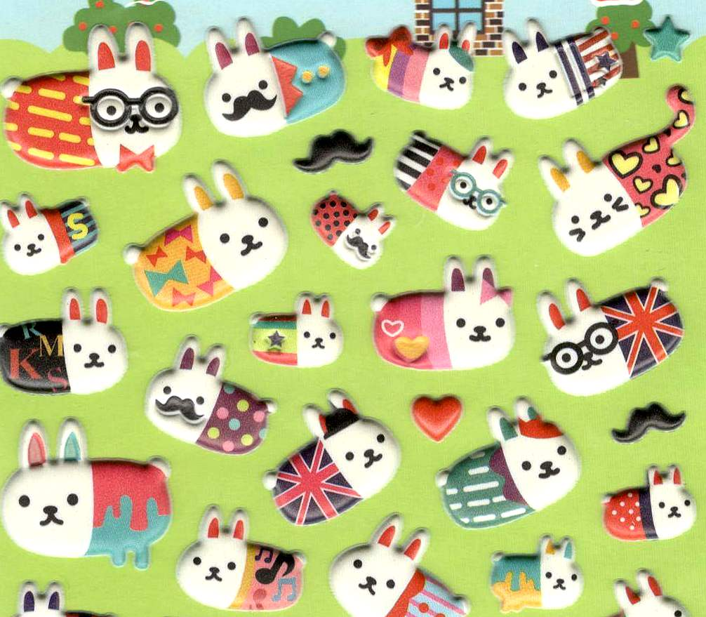 56 stickers kawaii Lapinous à Lunettes