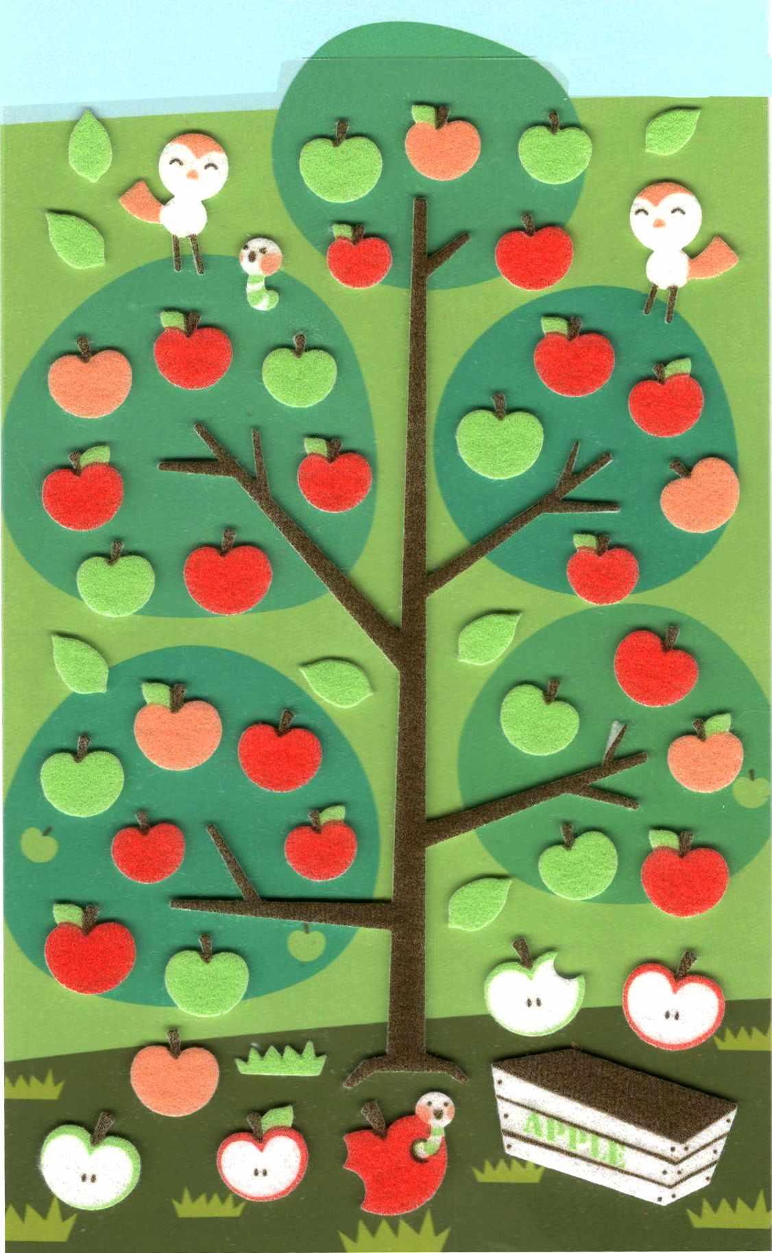 48 Stickers Pommes en feutrine