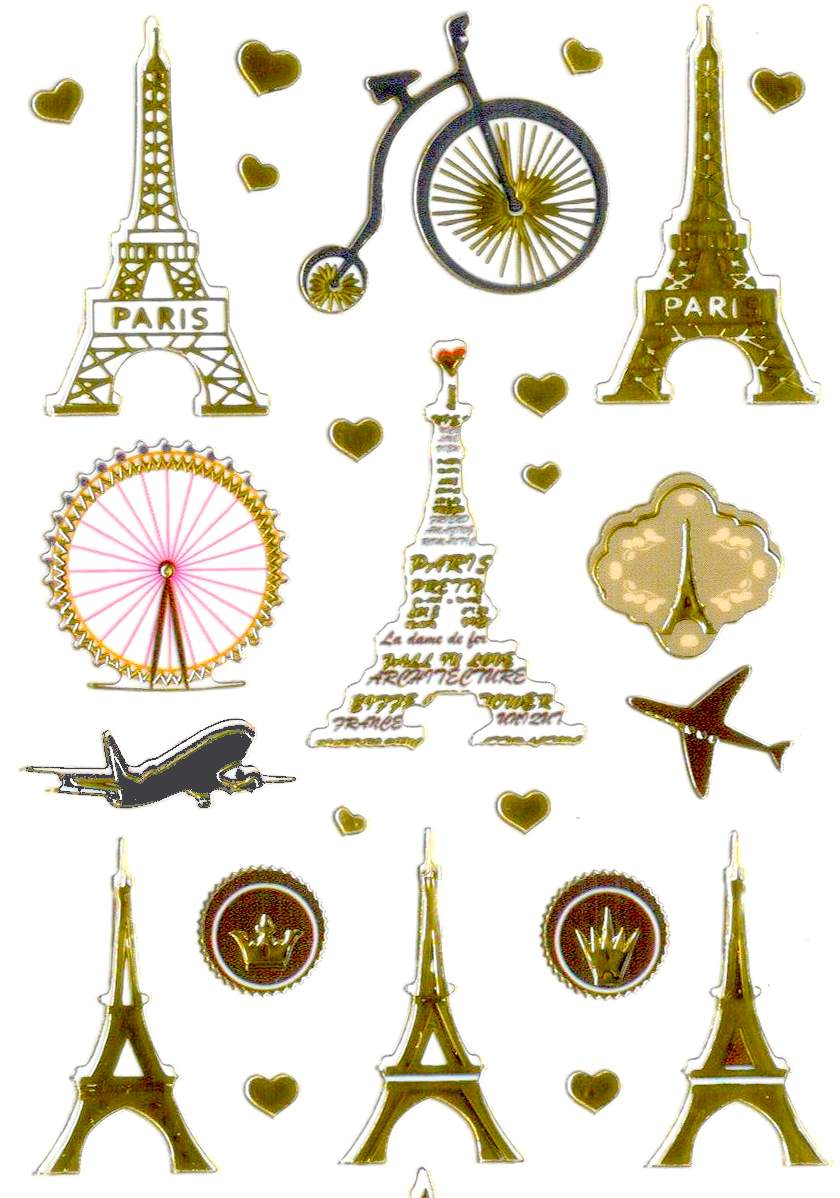 42 stickers vintage Paris Tour Eiffel