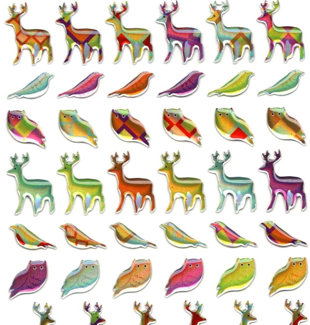 60 petites gommettes Cerfs et Oiseaux